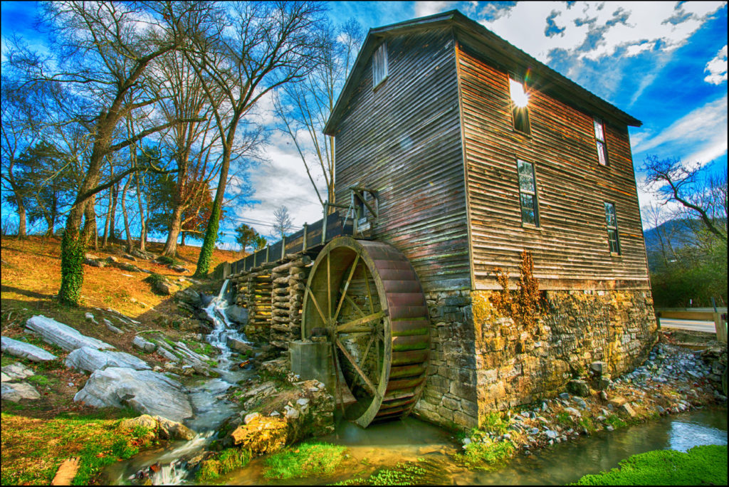 Historic Blowing Cave Mill in Sevierville near Smoky Mountains National Park in east Tennessee