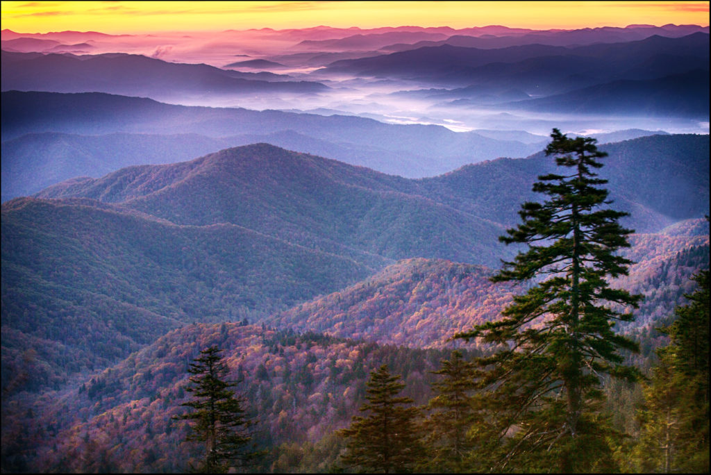 Smoky Mountains National Park sunrise at Clingmans Dome in autumn